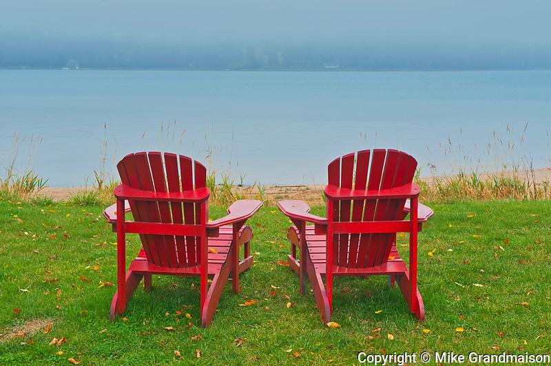 Muskoka chairs and fog<br />St. Joseph's Island<br />Ontario<br />Canada