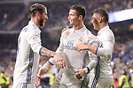Real Madrid's Cristiano Ronaldo, Carlos Henrique Casemiro and Sergio Ramos celebrating a goal during La Liga match between Real Madrid and Real Sociedad at Santiago Bernabeu Stadium in Madrid, Spain. January 29, 2017. (ALTERPHOTOS/BorjaB.Hojas)