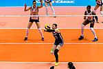 Di Yao of China serves the ball during the FIVB Volleyball Nations League Hong Kong match between China and Italy on May 31, 2018 in Hong Kong, Hong Kong. Photo by Marcio Rodrigo Machado / Power Sport Images