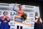 Anders Skaarseth Cofidis wears the Salmon Jersey at the end of Stage 1 of the 2018 Artic Race of Norway, running 184km from Vadso to Kirkenes, Norway. 16th August 2018. <br /> <br /> Picture: ASO/Pauline Ballet | Cyclefile<br /> All photos usage must carry mandatory copyright credit (&copy; Cyclefile | ASO/Pauline Ballet)