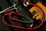 medical clamp, stethoscope and diskettes