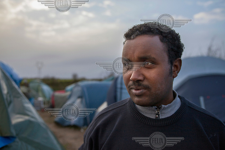 Naser Hamed from Eritrea in the camp next to a rubbish dump at Norrent-Fontes, which is home to people from Eritrea, Sudan and Somalia.