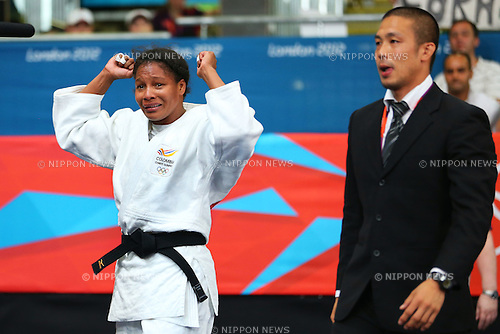 (L to R) Yuri Alvear (COL),  Noriyuki Hayakawa Coach, .AUGUST 1, 2012 - Judo : .Women's -70kg Bronze Medal Contests .at ExCeL .during the London 2012 Olympic Games in London, UK. .(Photo by Daiju Kitamura/AFLO SPORT) [1045].