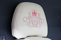 "Pictured: The embroidered headrest in the pink Fiat Ducato horsebox once owned by tv personality Katie Price.<br /> Re: A pink horsebox owned by Katie Price is up for grabs at auction after failing to sell on eBay.<br /> The 2012 registered Fiat Ducato is instead listed on the John Pye online auction site and is now at the company's depot in Port Talbot, south Wales.<br /> The vehicle has only covered 7,000 miles, with additional features EQUI-TREK SUPER SONIC HORSE BOX CARRIER.<br /> Previously owned by Model/TV celebrity Katie Price<br /> 3.5 t finished paint work in Pink by Kahn.<br /> 2 Horse carrier.<br /> Cream Leather interior.<br /> Tachograph.<br /> Aircon.<br /> Grooms Locker.<br /> Extra height partition.<br /> Skylight Roof Vent.<br /> Internal Lighting.<br /> Tinted windows.<br /> Tie Rings on external.<br /> Internal and rear reversing cameras.<br /> wireless camera system with 7"" screen"