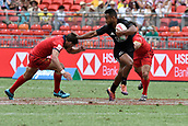 2nd February 2019, Spotless Stadium, Sydney, Australia; HSBC Sydney Rugby Sevens; New Zealand versus Spain; Jona Nareki of New Zealand palms off Manuel Sainz-Trapaga of Spain