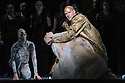 """EMBARGOED UNTIL FRIDAY 4th MARCH 2016, 7:30pm:  London, UK. 02.03.2016. English National Opera presents """"Akhnaten"""", composed by Philip Glass, and directed by Phelim McDermott. Picture shows: Anthony Roth Costanza (Akhnaten), Zachary James (Scribe), Sean Gandini (background left). Photograph © Jane Hobson."""