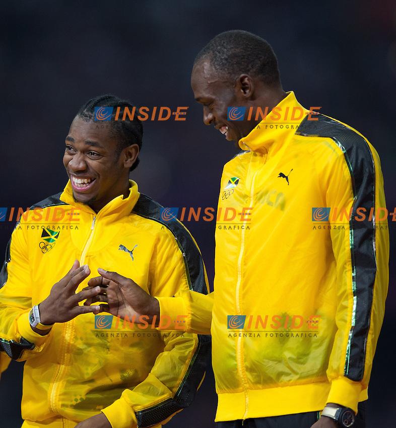 Yohan Blake (JAM), Usain Bolt (JAM) during Men's 4 x 100m Relay Podium at the 2012 Summer Olympics at Olympic Stadium, London, United Kingdom on 2012/08/11..PhotoCredit: Insidefoto /  EXPA/ Johann Groder