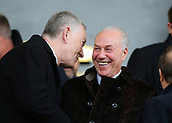 3rd December 2017, Vitality Stadium, Bournemouth, England; EPL Premier League football, Bournemouth versus Southampton; Bournemouth chairman Jeff Mostyn speaks with FA Chief Richard Scudamore before kick off