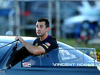 Sep 3, 2016; Clermont, IN, USA; NHRA pro stock driver Vincent Nobile during qualifying for the US Nationals at Lucas Oil Raceway. Mandatory Credit: Mark J. Rebilas-USA TODAY Sports