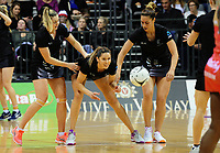 From left, Gina Crampton, Kayla Cullen and Grace Rasmussen warm up for the Taini Jamieson Trophy Series netball match between the New Zealand Silver Ferns and England Roses at Claudelands Arena in Hamilton, New Zealand on Wednesday, 13 September 2017. Photo: Dave Lintott / lintottphoto.co.nz