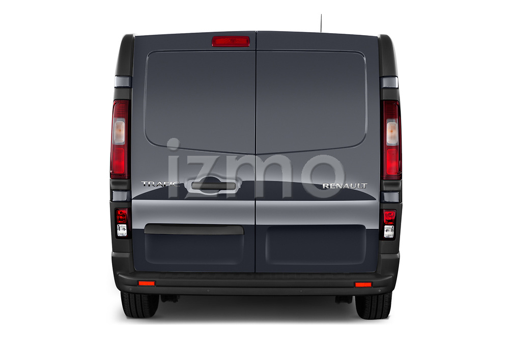 Straight rear view of a 2020 Renault Trafic Grand-Confort 4 Door Cargo Van stock images