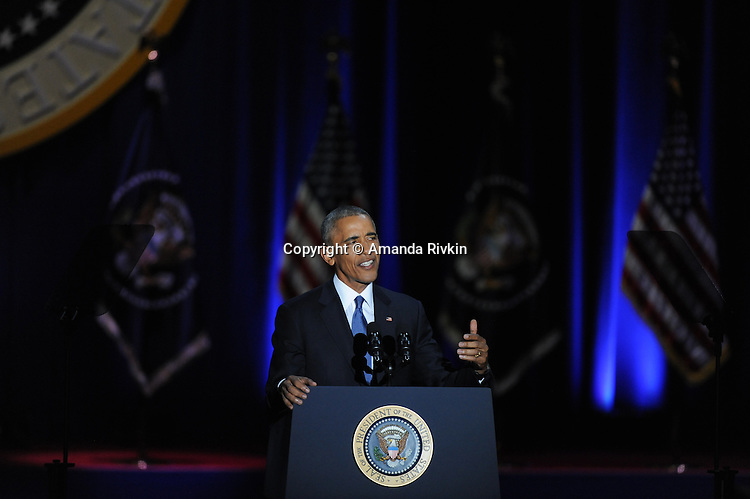 President Barack Obama addresses a crowd of thousands and the nation during his farewell address at McCormick Place in Chicago, Illinois on January 10, 2017.
