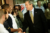 United States President George W. Bush, along with United States Vice President Dick Cheney, greeted Pentagon employees before speaking briefly with the press with United States Secretary of Defense Donald Rumsfeld.<br /> Credit: Jay L. Clendenin / Pool via CNP