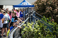 Seattle, WA - Sunday, April 17, 2016: Seattle Reign FC fans arrive for the home opener at Memorial Stadium. Sky Blue FC defeated the Seattle Reign FC 2-1 during a National Women's Soccer League (NWSL) match at Memorial Stadium.