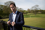 © Joel Goodman - 07973 332324 . 01/05/2015 . Manchester , UK . NICK CLEGG interviewed by media after speaking at a Liberal Democrat party rally at Chorlton-cum-Hardy Golf Club . Liberal Democrat party leader Nick Clegg visits the constituency of Manchester Withington to deliver a speech on the NHS and campaign with local candidate John Leech . Photo credit : Joel Goodman