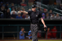 Home plate umpire Darius Ghani issues a warning to the Lancaster JetHawks bench during a California League game against the Inland Empire 66ers at San Manuel Stadium on May 18, 2018 in San Bernardino, California. Lancaster defeated Inland Empire 5-3. (Zachary Lucy/Four Seam Images)