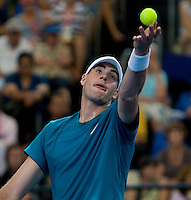 John isner (USA) against Leyton Hewitt (AUS) in a Group A match Australia V USA. Hewitt beat Isner 6-1 7-5...International Tennis - Hyundai Hopman Cup XXII - Tues 05 Jan 2010 - Burswood Dome - Perth - Australia ..© Frey, AMN Images, Level 1, Barry House, 20-22 Worple Road, London, SW19 4DH