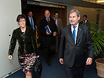 Brussels-Belgium - November 12, 2012 -- Johannes HAHN (ri), European Commissioner from Austria and in charge of Regional Policy, receives Annegret KRAMP-KARRENBAUER (le), Minister-President of Saarland -- Photo: © HorstWagner.eu
