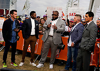 ATLANTA, GA - DECEMBER 7: Jason Fitz, Harry Douglas, Marcus Spears, Pat McAfee and David Pollack at ESPN College Game Day during a game between Georgia Bulldogs and LSU Tigers at Mercedes Benz Stadium on December 7, 2019 in Atlanta, Georgia.