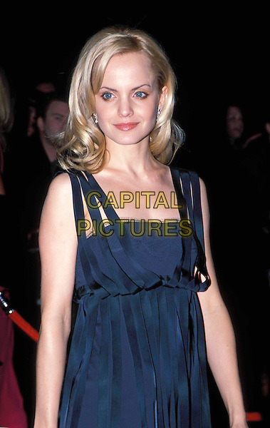 MENA SUVARI.at the British Academy Film & Television Awards (Bafta Awards 2003), Odeon, Leicester Square.Ref: AH.navy dress, ribbons, half length, half-length.www.capitalpictures.com.sales@capitalpictures.com.© Capital Pictures