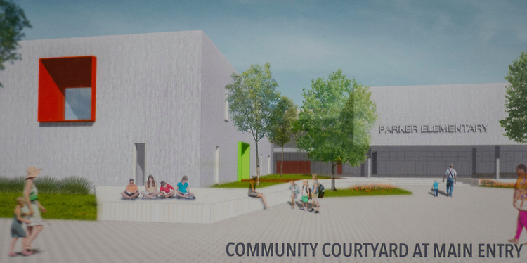 Community meeting to discuss design progress of Parker Elementary School, December 15, 2014.