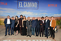 "LOS ANGELES, USA. October 08, 2019: Vince Gilligan, Charles Baker, Krysten Ritter, Matt Jones, Betsy Brandt, Aaron Paul, Dean Norris, Jonathan Banks, Giancarlo Esposito, Bryan Cranston & Jesse Plemons at the premiere of ""El Camino: A Breaking Bad Movie"" at the Regency Village Theatre.<br /> Picture: Paul Smith/Featureflash"
