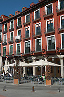 apartment buildings restaurant terrace plaza mayor Valladolid spain castile and leon