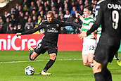 12th September 2017, Glasgow, Scotland; Champions League football, Glasgow Celtic versus Paris Saint Germain;  29 KYLIAN MBAPPE (psg) shoots past 63 Kieran Tierney (cel)