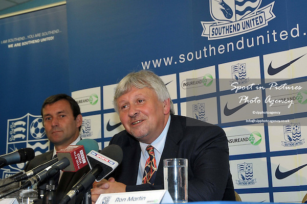 Paul Sturrock, new Southend United Manger (right) and Tommy Widdrington, new Southend United assistant manager. New manager press conference. Southend United FC. Roots Hall. Southend. 05/07/2010. Credit Sportinpictures/Garry Bowden