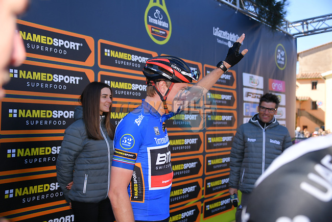 Race leader Rohan Dennis (AUS) BMC Racing Team at sign on before the start of Stage 4 of the 2017 Tirreno Adriatico running 187km from Montalto di Castro to Terminillo, Italy. 11th March 2017.<br /> Picture: La Presse/Gian Mattia D'Alberto | Cyclefile<br /> <br /> <br /> All photos usage must carry mandatory copyright credit (&copy; Cyclefile | La Presse)