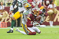 Landover, MD - September 23, 2018: Washington Redskins wide receiver Paul Richardson (10) catches a pass during the  game between Green Bay Packers and Washington Redskins at FedEx Field in Landover, MD.   (Photo by Elliott Brown/Media Images International)