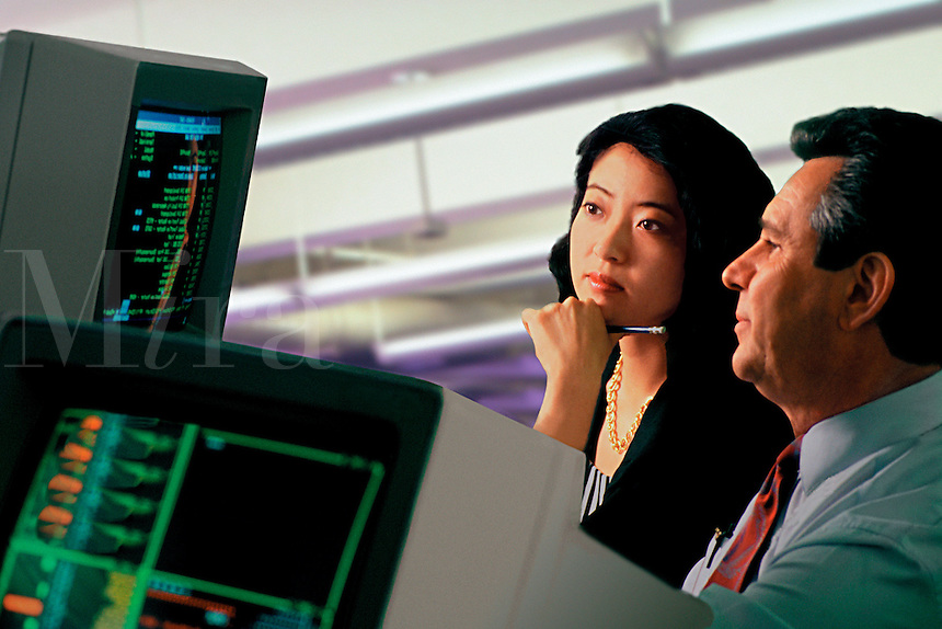 Male and female business associates confer before a computer.