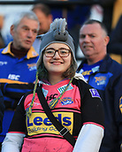 8th September 2017, The Mend-A-Hose Jungle, Castleford, England; Betfred Super League, Super 8s; Castleford Tigers versus Leeds Rhinos; a young Leeds fan wearing a rhino hat