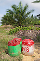 Containers of glyphosate herbicide that is sprayed around young palm trees once a month to keep vegetation away. The chemicals have already been diluted to avoid toxic spills in the fields. The Sindora Palm Oil Plantation, owned by Kulim, is green certified by the Roundtable on Sustainable Palm Oil (RSPO) for its environmental, economic, and socially sustainable practices. Johor Bahru, Malaysia