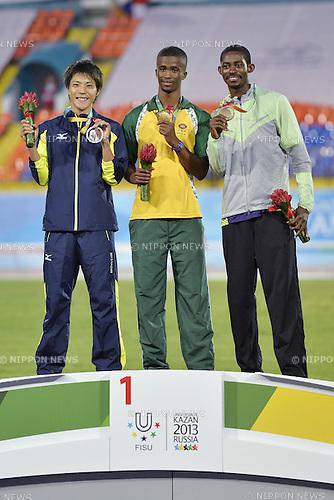 Ryota Yamagata (JPN), Jobddwana Anaso (RSA), Koffi Hua Wilfried Serge (CIV), JULY 8, 2013 - Athletics : The 27th Summer Universiade 2013 Kazan Men's 100m Final at Central Stadium, Kazan, Russia. (Photo by AFLO SPORT)