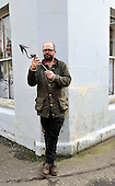 Anstruther and Cellardyke - Sean Dooley at his home at James Street with a harpoon - picture by Donald MacLeod - 09.03.13 - 07702 319 738 - clanmacleod@btinternet.com - www.donald-macleod.com