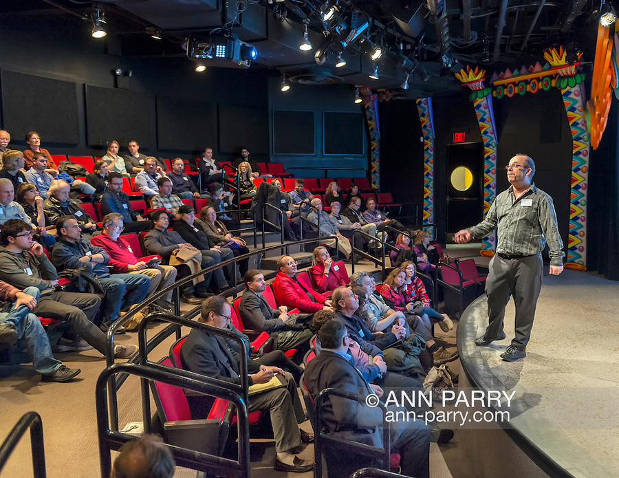 "Garden City, New York, USA. January 5, 2015. Computer animator Keith Stichweh, from Blue Sky Studios, presents ""The Art of Computer Generated Feature Films"" during Long Island Visual Professionals (LIVP) meeting at Long Island Children's Museum (LICP). Paul Lipsky, founder of LIVP, introduced speakers. Blue Sky Studios created animation for movies including Rio, Ice Age, and, coming in 2015, the Peanuts movie in 3D."
