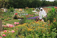 Beekeeper in a community garden