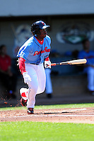 Pawtucket Red Sox right fielder Rusney Castillo (10) during a game versus the Durham Bulls at McCoy Stadium in Pawtucket, Rhode Island on May 3, 2015.  (Ken Babbitt/Four Seam Images)