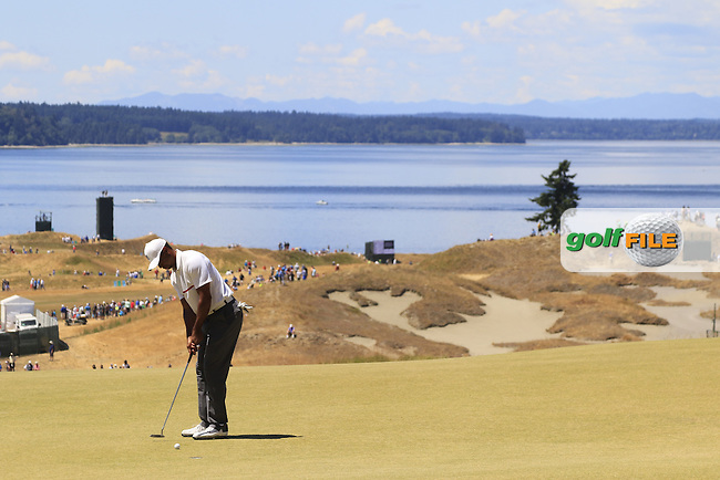 Tiger WOODS (USA) takes his putt on the 7th green during Friday's Round 2 of the 2015 U.S. Open 115th National Championship held at Chambers Bay, Seattle, Washington, USA. 6/19/2015.<br /> Picture: Golffile | Eoin Clarke<br /> <br /> <br /> <br /> <br /> All photo usage must carry mandatory copyright credit (&copy; Golffile | Eoin Clarke)