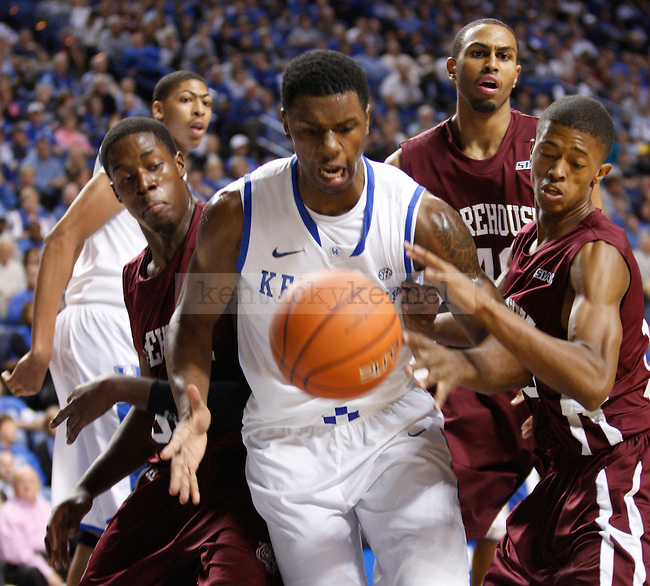 Sophomore forward Terrence Jones looks to grab a rebound during the first half of the UK's home game against Morehouse in Lexington, Ky., Nov. 7, 2011. Photo by Brandon Goodwin | Staff