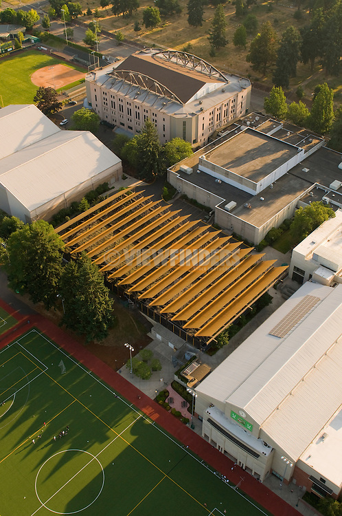 Aerial View of University of Oregon MacArthur Court and Tennis Courts in Eugene, Oregon