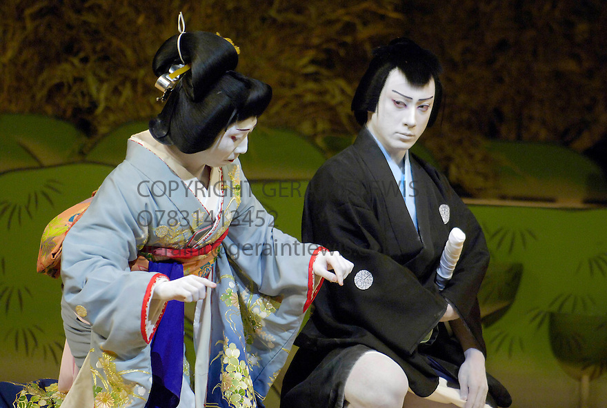 Kabuki from Tokyo. Kasane with Ebizo Ichikawa XI [R] ,Kamejiro Ichikawa II. Opens at Sadlers Wells Theatre on 31/5/06. CREDIT Geraint Lewis