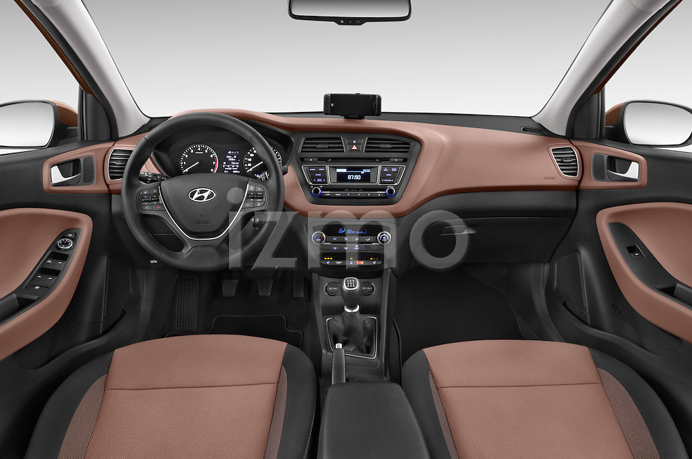 Stock photo of straight dashboard view of 2015 Hyundai I20 Intro Edition 5 Door Hatchback Dashboard