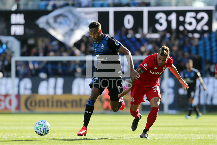 SAN JOSE, CA - FEBRUARY 29: Danny Hoesen #9 of the San Jose Earthquakes battles for the ball with Auro Jr. #96 of Toronto FC during a game between Toronto FC and San Jose Earthquakes at Earthquakes Stadium on February 29, 2020 in San Jose, California.