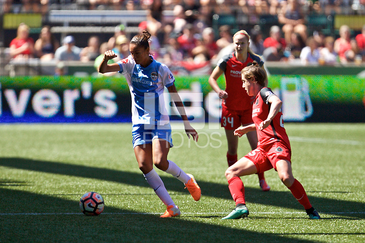Portland, OR - Saturday August 05, 2017: Poliana Barbosa Medeiros, Meghan Klingenberg during a regular season National Women's Soccer League (NWSL) match between the Portland Thorns FC and the Houston Dash at Providence Park.