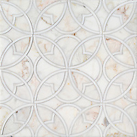 Lombard, a stone waterjet mosaic, shown in polished Cloud Nine and Dolomite, is part of the Bright Young Things™ collection by New Ravenna.
