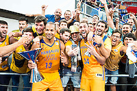 Herbalife Gran Canaria's players Eulis Baez and Pablo Aguilar celebrating the victory with supporters during the final of Supercopa of Liga Endesa Madrid. September 24, Spain. 2016. (ALTERPHOTOS/BorjaB.Hojas) NORTEPHOTO.COM
