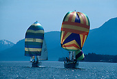 Sailboats with spinnakers navigate the Tongass Narrows near Ketchikan Alaska.