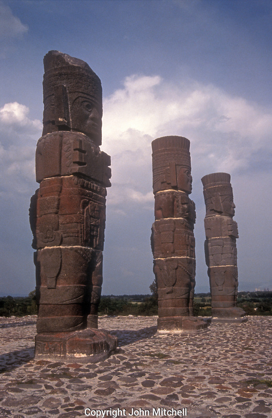 Toltec warrior sculptures or Atlantean Men at the Toltec ruins of Tula, Hidalgo, Mexico